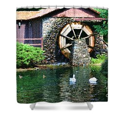 Shower Curtain featuring the painting Water Wheel Duck Pond by Smilin Eyes  Treasures
