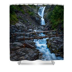 Waterall And Bridge Shower Curtain by Chris McKenna