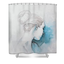 Watercolor Abstract Girl With Hair Bun Shower Curtain