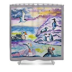 Watercolor - Alaska Seabird Gathering Shower Curtain