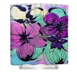 Watercolor And Ink Haiku  Shower Curtain