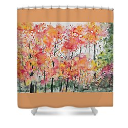 Shower Curtain featuring the painting Watercolor - Autumn Forest by Cascade Colors