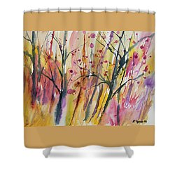 Shower Curtain featuring the painting Watercolor - Autumn Forest Impression by Cascade Colors