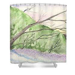 Watercolor Barn Shower Curtain