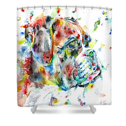 Watercolor Boxer Shower Curtain