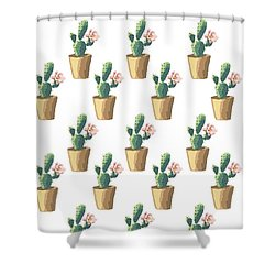 Watercolor Cactus Shower Curtain by Roam  Images