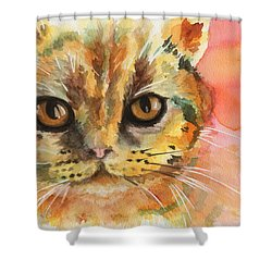Watercolor Cat 02 Army Cat  Shower Curtain