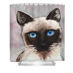 Watercolor Cat 06 Blue Eyes Cat Shower Curtain