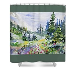 Shower Curtain featuring the painting Watercolor - Colorado Summer Scene by Cascade Colors