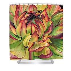 Watercolor Dahlia Shower Curtain by Angela Armano
