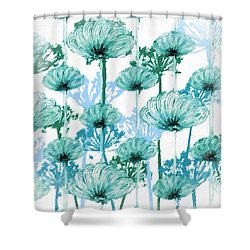 Shower Curtain featuring the digital art Watercolor Dandelions by Bonnie Bruno