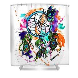 Watercolor Dream Catcher Shower Curtain