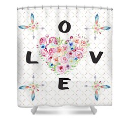 Shower Curtain featuring the painting Watercolor Flowers Arrows Love Typography by Georgeta Blanaru
