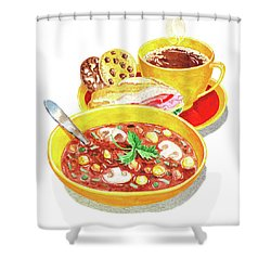 Shower Curtain featuring the painting Watercolor Food Illustration Full Lunch by Irina Sztukowski