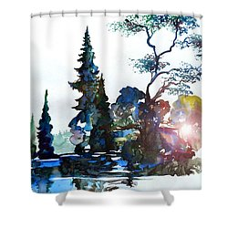 Watercolor Forest And Pond Shower Curtain by Curtiss Shaffer