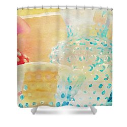 Watercolor Glassware Shower Curtain
