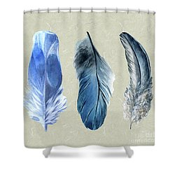 Watercolor Hand Painted Feathers Shower Curtain by Heinz G Mielke