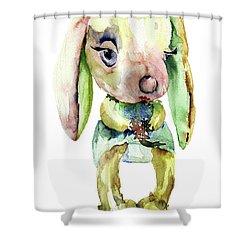 Watercolor Illustration Of Rabbit Shower Curtain