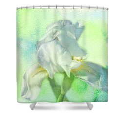 Watercolor Iris Shower Curtain by Joan Bertucci