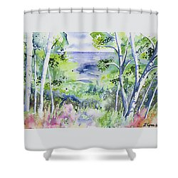 Shower Curtain featuring the painting Watercolor - Lake Superior Impression by Cascade Colors