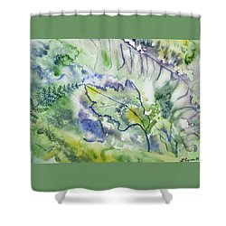 Shower Curtain featuring the painting Watercolor - Leaves And Textures Of Nature by Cascade Colors