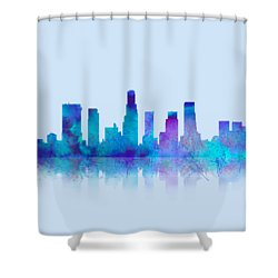 Shower Curtain featuring the digital art Watercolor Los Angeles Skylines On An Old Paper by Georgeta Blanaru