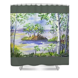 Shower Curtain featuring the painting Watercolor - Minnesota North Shore Landscape by Cascade Colors