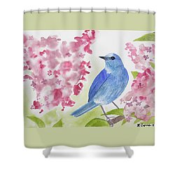 Shower Curtain featuring the painting Watercolor - Mountain Bluebird by Cascade Colors