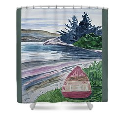 Shower Curtain featuring the painting Watercolor - New Zealand Harbor by Cascade Colors