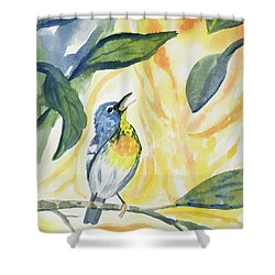 Shower Curtain featuring the painting Watercolor - Northern Parula In Song by Cascade Colors