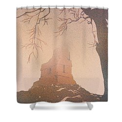 Shower Curtain featuring the painting Watercolor Painting Of Mayan Temple- Tikal, Guatemala by Ryan Fox