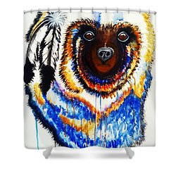 Shower Curtain featuring the painting Watercolor Painting Of Spirit Of The Bear By Ayasha Loya by Ayasha Loya