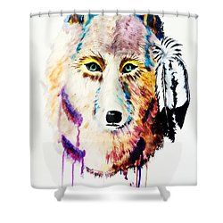 Shower Curtain featuring the painting Watercolor Painting Of Spirit Of The Wolf By Ayasha Loya by Ayasha Loya