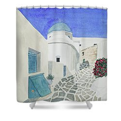 Shower Curtain featuring the painting Watercolor - Paros Church And Street Scene by Cascade Colors