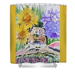 Shower Curtain featuring the painting Watercolor - Pika With Wildflowers by Cascade Colors