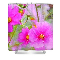 Shower Curtain featuring the painting Watercolor Pink Cosmos by Bonnie Bruno