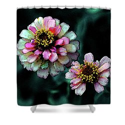 Watercolor Pink Zinnias And Smoke 2227 W_2 Shower Curtain