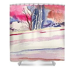 Shower Curtain featuring the painting Watercolor River by Darren Cannell