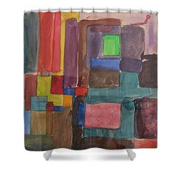 Watercolor Shapes Shower Curtain by Barbara Yearty