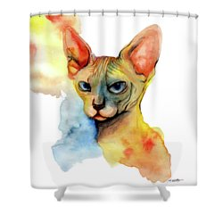 Watercolor Sphynx 2 Shower Curtain by Akiko Okabe