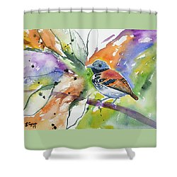 Shower Curtain featuring the painting Watercolor - Spotted Antbird by Cascade Colors