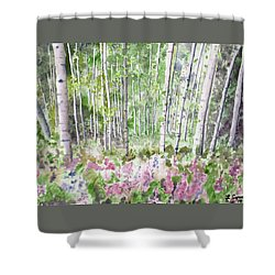 Shower Curtain featuring the painting Watercolor - Summer Aspen Glade by Cascade Colors
