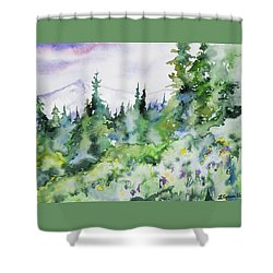 Shower Curtain featuring the painting Watercolor - Summer In The Rockies by Cascade Colors