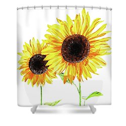 Shower Curtain featuring the painting Watercolor Sunflowers by Irina Sztukowski