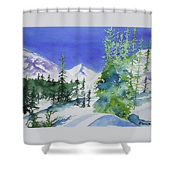 Shower Curtain featuring the painting Watercolor - Sunny Winter Day In The Mountains by Cascade Colors