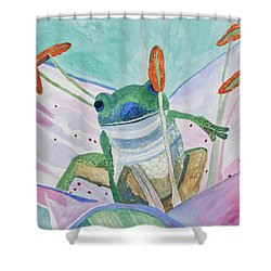 Shower Curtain featuring the painting Watercolor - Tree Frog by Cascade Colors