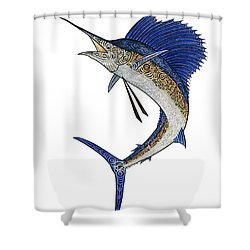 Watercolor Tribal Sailfish Shower Curtain by Carol Lynne