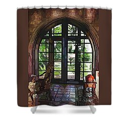 Watercolor View To The Past Shower Curtain