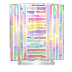Watercolour Abstract Strips 3 Shower Curtain