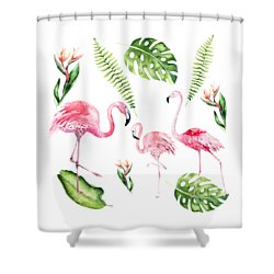 Shower Curtain featuring the painting Watercolour Flamingo Family by Georgeta Blanaru